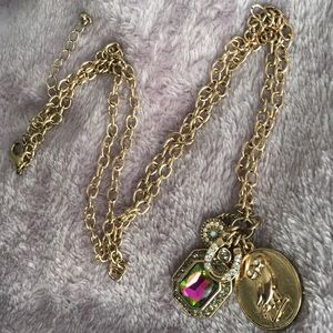 Long Gold Necklace with Iridescent Jewel